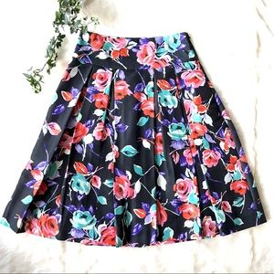 Express Design Studio Floral Silk Flare Skirt